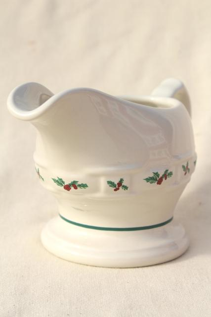 Longaberger Holly Christmas Traditions stoneware pottery, gravy boat or sauce pitcher