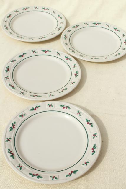 Longaberger Holly Christmas Traditions stoneware pottery luncheon plates set of four  sc 1 st  Laurel Leaf Farm & Longaberger Holly Christmas Traditions stoneware pottery luncheon ...