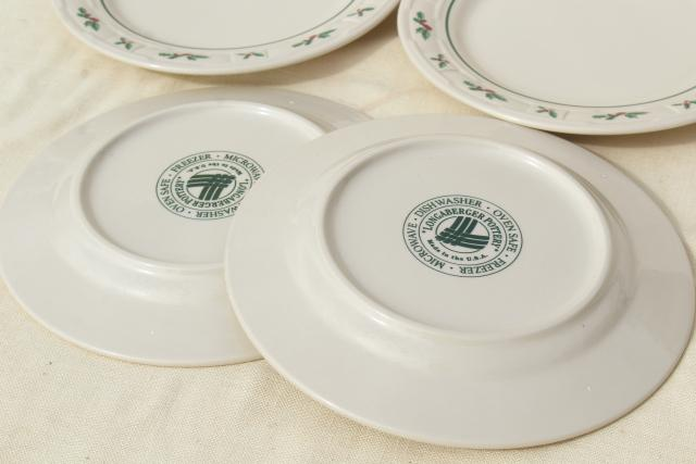 Longaberger Holly Christmas Traditions stoneware pottery luncheon plates set of four
