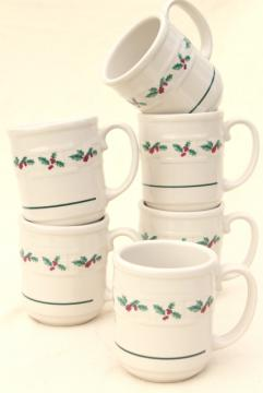 Longaberger Holly Christmas Traditions stoneware pottery mugs or coffee cups, set of four