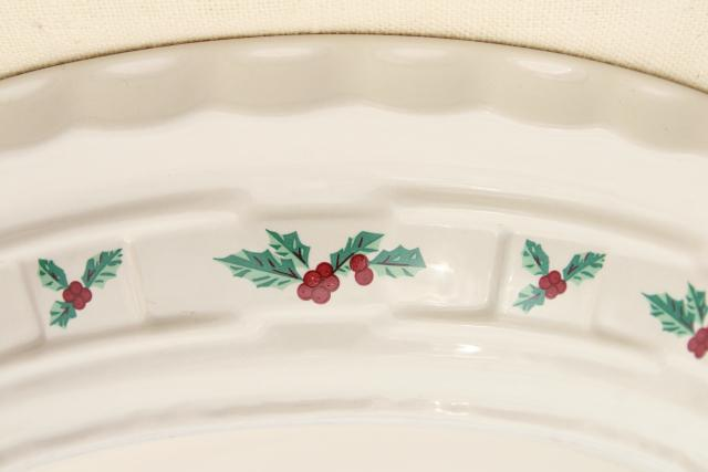 Longaberger Holly Christmas Traditions stoneware pottery pie plate 10 inch pie pan & Longaberger Holly Christmas Traditions stoneware pottery pie plate ...