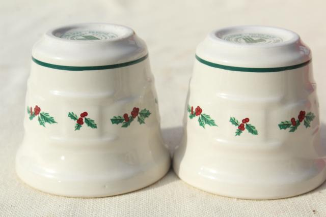 Longaberger Holly Christmas Traditions stoneware pottery votive candle holders set