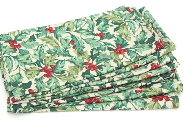 longaberger holly print cloth napkins vintage christmas traditions table linens unused - Christmas Napkins Cloth