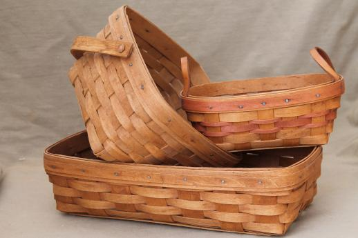 Longaberger basket lot three 80s 90 vintage baskets w Longaberger baskets for sale