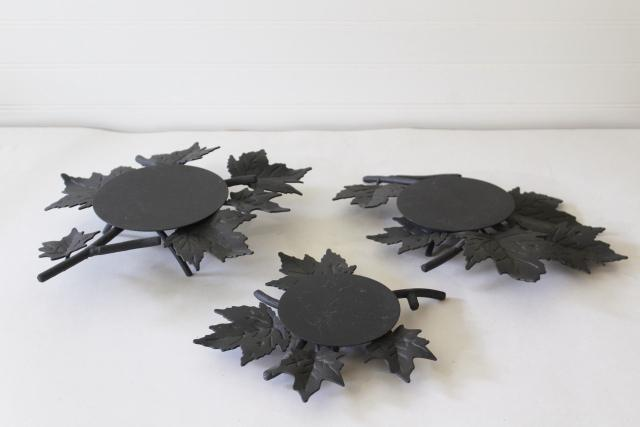Longaberger black iron trivets, metal candle stands or basket holders, maple leaf autumn leaves