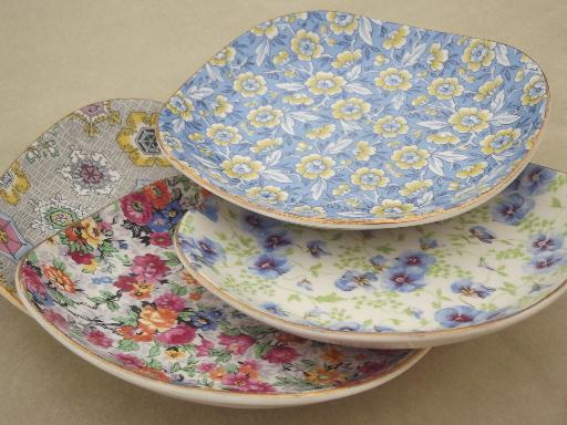 & Lord Nelson chintz china sandwich plates set four different patterns