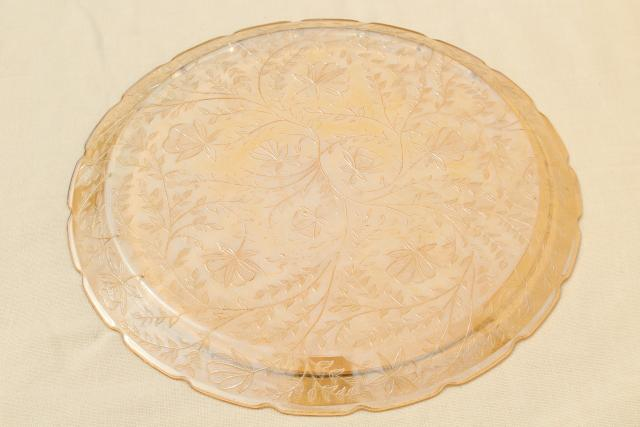 Louisa floragold vintage marigold iridescent luster glass cake plate or serving tray