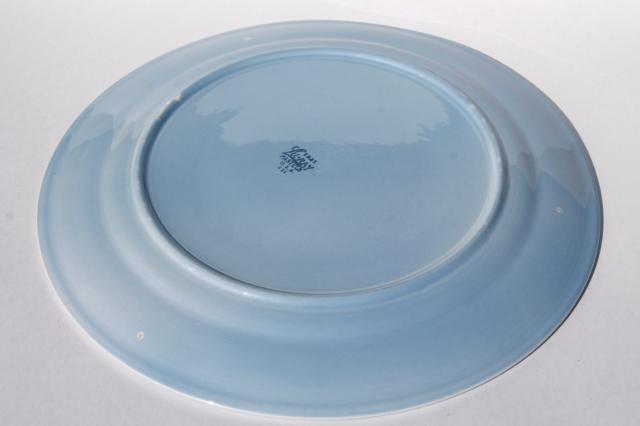 LuRay pastels blue vintage Taylor Smith & Taylor pottery cake plate or round platter