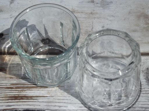 Luminarc France, 6 jelly / preserve jars, wide tumbler drinking glasses