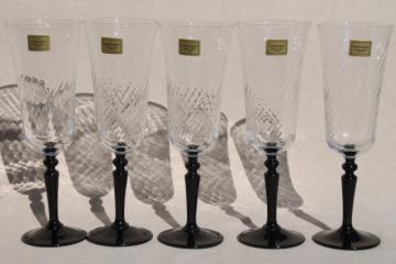 Luminarc Onyx black stem french crystal champagne flutes w/ original labels