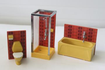 Lundby dollhouse bathroom furniture, 70s vintage Scandinavian modern decor
