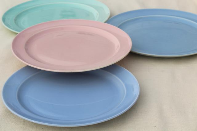 Luray pastels vintage Taylor Smith TST pottery dinner luncheon plates blue pink green