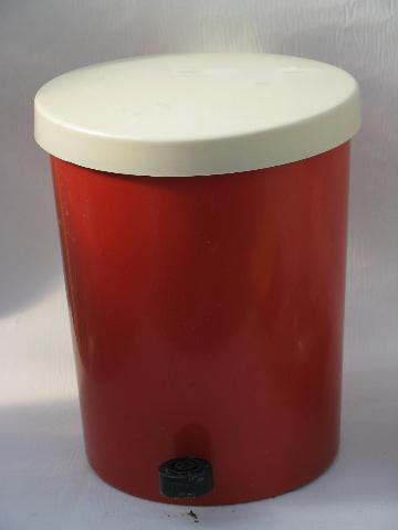 Lustroware 1950s vintage red plastic kitchen trash can, step ...