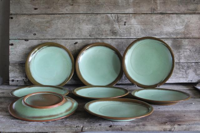 MCM heavy stoneware dinner plates, Lazy Bones Frankoma pottery prairie green / brown