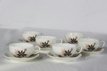 MCM vintage Shenango china, heavy ironstone restaurant ware cups & saucers Peter Terris design