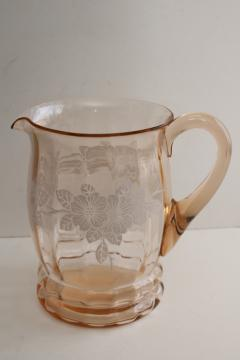 Macbeth Evans dogwood 1930s vintage pink depression glass pitcher w/ flowers