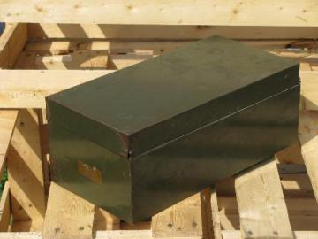 Machine age industrial file box or card catalog w/old olive drab paint