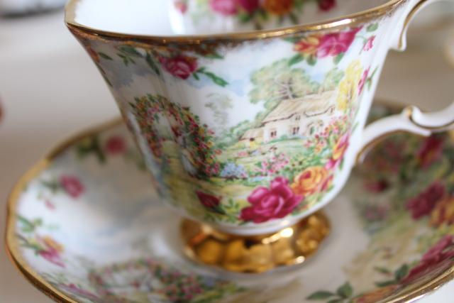 Mad Hatter tea party vintage English china tea cups, set 12 mismatched cup & saucer sets