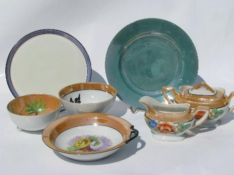 Made in Japan vintage hand painted luster china, old Noritake etc.