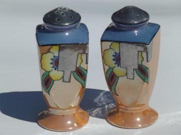 Made in Japan vintage hand-painted luster china, tall S&P shakers set