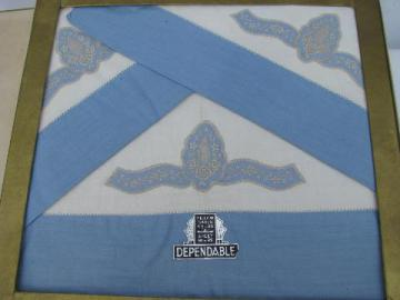 Madeira style embroidery & applique, vintage bed linens, pillowcases in original box