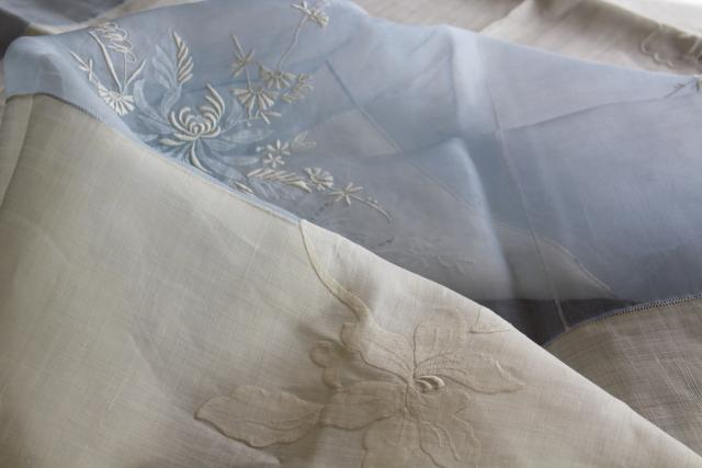 Madeira vintage embroidered cotton banquet tablecloth & 12 napkins, wedding blue & white