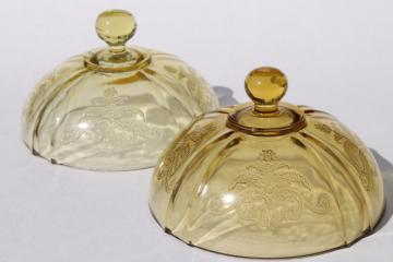 Madrid / Recollection pattern yellow amber depression glass round butter dish dome covers