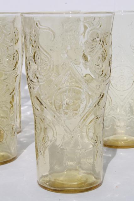 Madrid / Recollection vintage yellow depression glass tumblers set of 6 drinking glasses