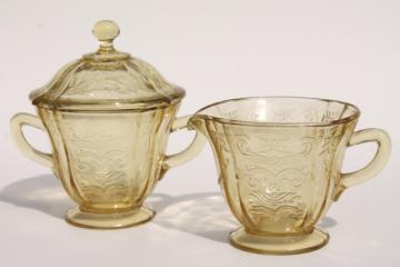 Madrid amber yellow depression glass, vintage cream pitcher & sugar bowl set