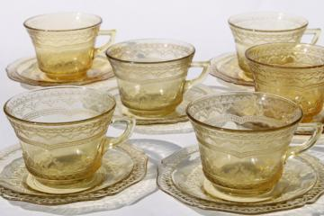 Madrid pattern vintage yellow depression glass tea cups & saucers set of 6
