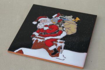 Mag-Mor hand-painted art pottery tile trivet w/ Christmas Santa Claus