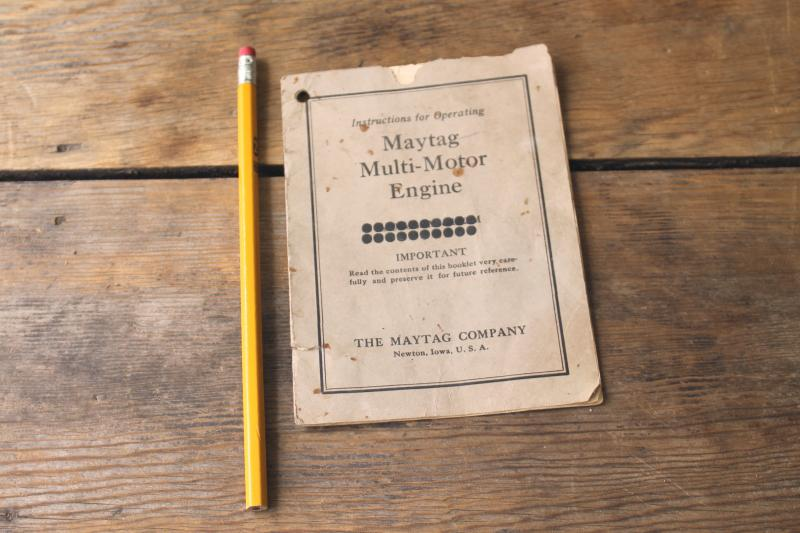 Magtag multi-motor (hit and miss) engine, original instruction booklet w/ diagrams