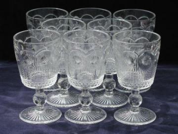 Manhattan pattern coinspot vintage water glasses goblets stemware lot