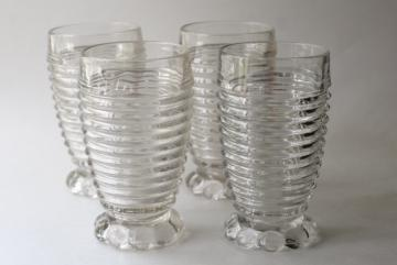 Manhattan vintage crystal clear Anchor Hocking tumblers, art deco stacked rings pattern