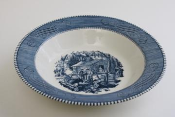Maple Sugaring scene vintage Currier & Ives blue and white china serving bowl