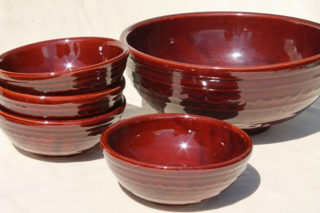 Marcrest daisy dot brown glaze stoneware pottery salad bowls set, vintage Mar-Crest