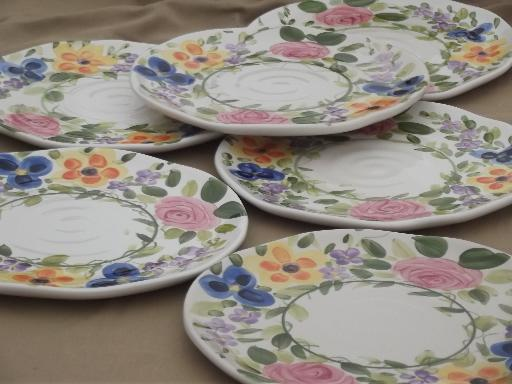 Mariamu0027s Garden Tabletops Unlimited hand painted floral china dinner plates & Mariamu0027s Garden Tabletops Unlimited hand painted floral china dinner ...