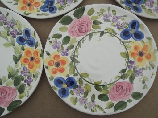 Mariam\u0027s Garden Tabletops Unlimited hand painted floral china dinner plates & Mariam\u0027s Garden Tabletops Unlimited hand painted floral china dinner ...