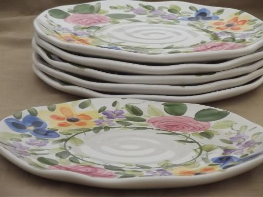Mariam\u0027s Garden Tabletops Unlimited hand painted floral china dinner plates & Garden Tabletops Unlimited hand painted floral china dinner plates