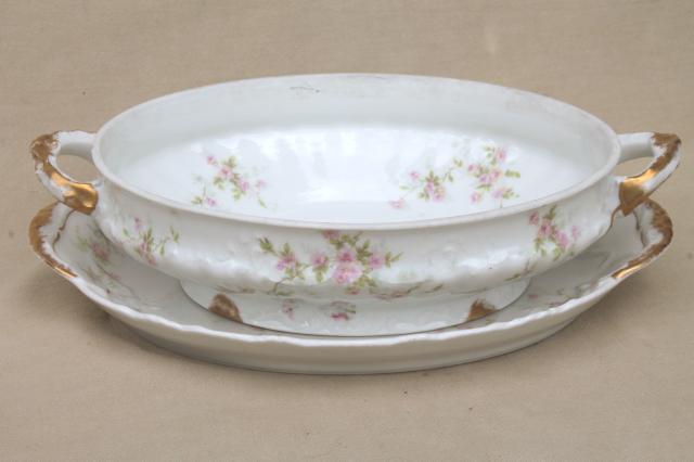 Marie Pink Floral Vintage Haviland Limoges China Oval
