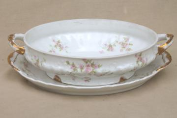 Marie pink floral vintage Haviland Limoges china, oval serving dish & platter underplate