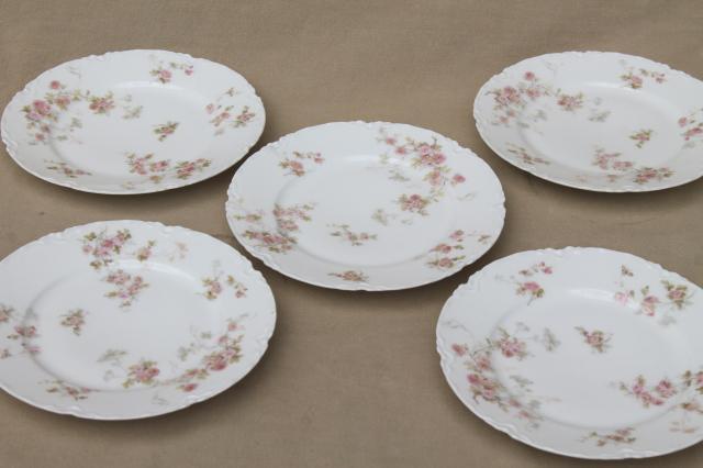 Marie pink floral vintage Haviland Limoges china small bread u0026 butter or dessert plates & Marie pink floral vintage Haviland Limoges china small bread ...