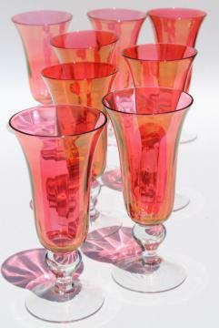Mariposa Bijoux glass goblets made in Poland, ruby stain glasses champagne flutes