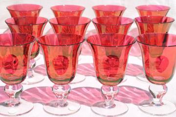 Mariposa Bijoux glass goblets made in Poland, ruby stain wine glasses