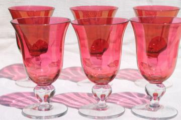 Mariposa Bijoux glass goblets made in Poland, ruby stain wine or water glasses