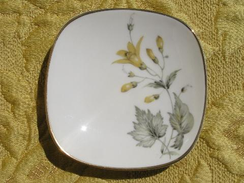 Maybelle yellow floral Krautheim china butter pat plates, perfect set