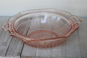 Mayfair pattern vintage Anchor Hocking pink depression glass bowl w/ handle