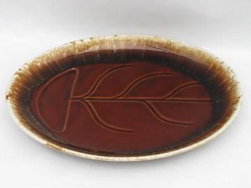 McCoy brown drip pottery steak or roast platter w/ drippings well