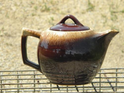 McCoy pottery brown drip glaze teapot, vintage tea pot