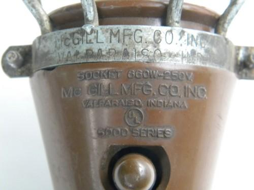 McGill hanging trouble work light w/wire safety cage industrial vintage